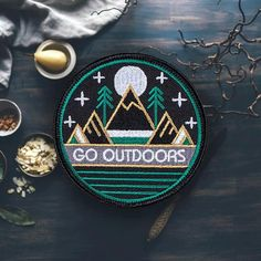 'Go Outdoors' Outdoors Patch. You're a Hiking Maverick with your backpack following behind you. Why not add this outdoors patch to show your outdoor pride and love?