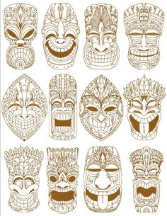 Totem Tattoo, Tiki Tattoo, Ace Of Spades Tattoo, Graffiti, Tiki Statues, Art Du Monde, Tiki Totem, Tiki Mask, Tattoo Signs