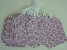 Set of 24 Prestrung --Gift Tags -- purple geometric. $3.60, via Etsy.