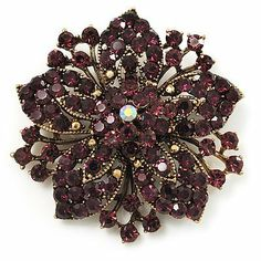 Victorian Corsage Flower Brooch (Gold & Purple) Avalaya. $28.17. Metal Finish: gold plated. Wear On: apparel, lapel, hat. Type: crystal. Gemstone: diamante. Occasion: anniversary, cocktail party