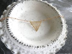 14K Gold Filigree Delicate Arrow // Triangle by ransomjewelry