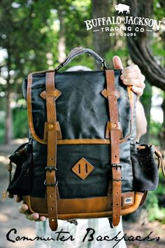 Crafted of waxed canvas and distressed leather, this vintage commuter backpack was built to honor the memory of good men and good days. Made with the most durable of canvases, leather accents, and plenty of room for all your work, sport, or travel products. Fill it with all you need for work or a day's travel. Backpack Outfit, Men's Backpack, Leather Backpack, Leather Bags, Leather Briefcase, Waxed Canvas Bag, Canvas Leather, Distressed Leather, Cute Canvas