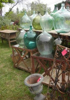 this was taken at an annual flea market in California. Demijohns in abundance