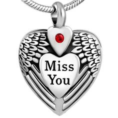 "Cremation Jewelry Stainless Steel ""Miss You"" Pendant Keepsake Memorial Urn Necklace with 20"" Chain & Fill Kit No.34"