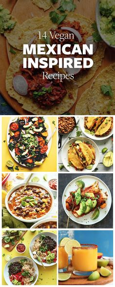 14 Easy Vegan Mexican Dishes from tacos and soups to salsas. Perfect for a quick weeknight dinners, entertaining or Mexican Mondays!