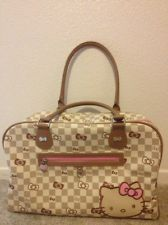 Sanrio Hello Kitty Grid Checkered  Large Travel Overnight Weekender Bag Purse