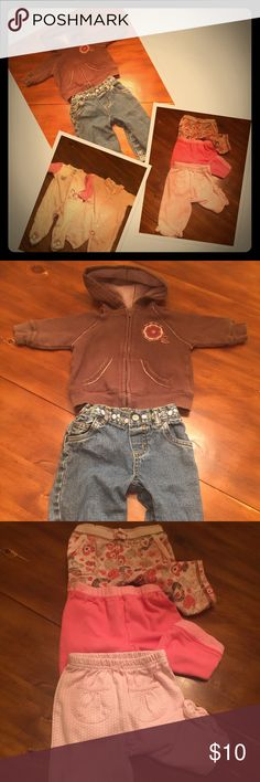 7 piece baby girls LOT 3-6mos Very baby girls lot!! All items as shown, no defects. Sweatshirt distressed, but adorable, and sweatshirt & jeans are carters💁🏼🛍 Carter's Matching Sets