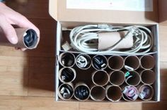 Use old toilet paper tubes to store power cords etc. nice and neat in an old shoe box or any covered box you have, no more clutter-catastrophy! :o)