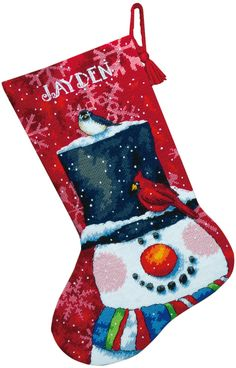 Amazon.com: Dimensions Needlecrafts Needlepoint, Snowman and Friends Stocking