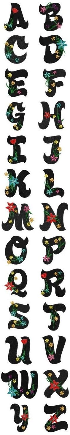 Alfabeto                                                                                                                                                      Más Applique Patterns, Applique Designs, Embroidery Designs, Alphabet Templates, Alphabet Design, Hand Lettering Fonts, Creative Lettering, Alphabet And Numbers, Letter Art