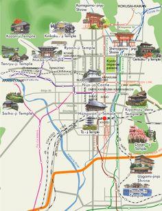 mapa localización de templos en kyoto y buses para llegar - Buscar con Google