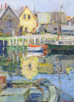 """Bearskin Neck from Rockport Harbor,"" Anthony Thieme, oil on panel, private collection."