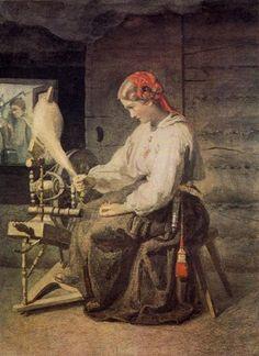 Йохан Келлер Пряха. Оборванная нить 1863 г.