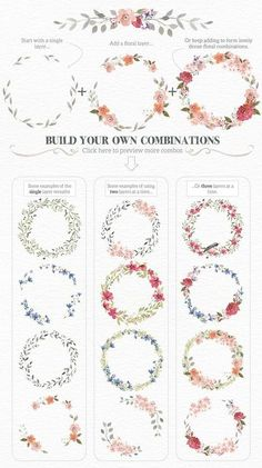 Drawing On Creativity Watercolour Wreath Creator by Lisa Glanz on Creative Market Watercolor Flowers, Watercolor Paintings, Floral Wreath Watercolor, Watercolor Wedding, Watercolor Border, Project Life Karten, Corona Floral, Doodles, Painting & Drawing