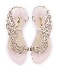 Webster Seraphina Angel-Wing Flat Sandal, Pink Glitter Seraphina Angel-Wing Flat Sandal, Pink Glitter by Sophia Webster at Neiman Marcus.Seraphina Angel-Wing Flat Sandal, Pink Glitter by Sophia Webster at Neiman Marcus. Pretty Shoes, Beautiful Shoes, Cute Shoes, Me Too Shoes, Pretty Sandals, Glitter Sandals, Pink Sandals, Bridal Sandals, Shoes Sandals