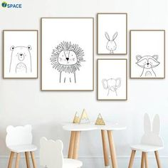 Löwe Kaninchen Bär Waschbär Wandkunst Leinwand Malerei Nordic Poster Und Drucke Kinderzimmer … Lion rabbit bear raccoon wall art canvas painting nordic posters and prints kids room wall pictures for baby girls boys room decor Kids Wall Decor, Kids Room Wall Art, Boys Room Decor, Nursery Wall Decor, Baby Decor, Diy Nursery Painting, Nursery Artwork, Painting For Baby Room, Baby Room Wall Art