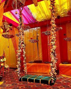 From Peppy Haldi Songs To Real Haldi Décor Ideas Here Is Everything That Your Lavish Haldi Ceremony Needs! Indian Wedding Theme, Desi Wedding Decor, Wedding Hall Decorations, Marriage Decoration, Wedding Mandap, Flower Decorations, Pakistani Wedding Decor, Wedding Receptions, Pakistani Mehndi Decor