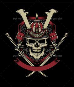 Buy Samurai Warrior Skull with Crossed Katana Swords by vectorfreak on GraphicRiver. fully editable vector illustration (editable EPS) of Samurai Warrior skull, image suitable for emblem, insignia, logo. Ronin Samurai, Samurai Warrior, Illustration Vector, Vector Art, Eps Vector, Vector File, Ronin Tattoo, Samourai Tattoo, Dragon Tattoo Art