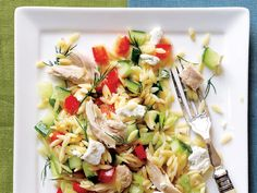 This colorful orzo and chicken main dish salad is packed with an assortment of chopped fresh vegetables and tossed with a tangy lemon...