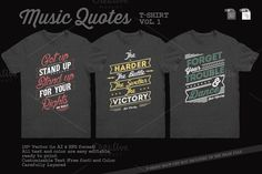 Music Quotes T-Shirt Template Vol. 1 by Rooms Design Shop on Creative Market