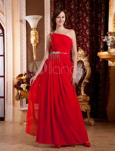 Red One-Shoulder A-line Rhinestone Silk Like Evening Dress - Get unbeatable discounts up to 70% Off at Milanoo using Coupon & Promo Codes