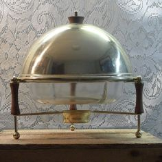 Vintage gold tone chafing dish with Pyrex divided dish