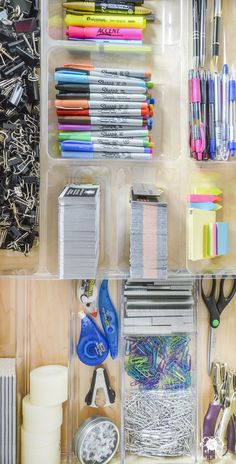 Organized and Functional Office Supply Drawers - Kelley Nan- Home Office Organization Ideas