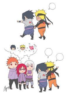 Himawari is hiding under the desk again. It's time to go home, sweetie! Sasuke Sakura Sarada, Naruto Comic, Naruto Uzumaki Shippuden, Naruto Cute, Naruto Shippuden Sasuke, Kakashi Sensei, Narusasu, Sasunaru, Otaku