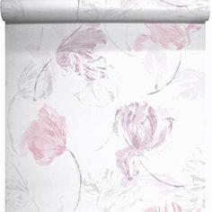 Papier peint vinyle sur intiss� Tulipe, rose, larg. 0.53 m