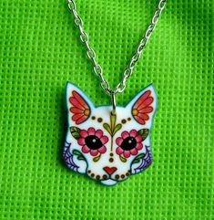 Day of the Dead Sugar Skull Kitty Cat Necklace