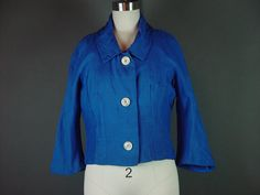 Vintage 50s 60s Blue Cropped Jacket 1950s Bright by mustangannees, $34.00