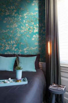Almond Blossom Wallpaper in Turquoise from the Van Gogh Collection by Burke Decor Van Gogh Wallpaper, Back Wallpaper, Tree Wallpaper, Modern Wallpaper, Designer Wallpaper, Wallpaper For Walls, Botanical Wallpaper, Wallpaper Patterns, Bedroom Wallpaper
