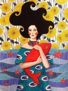 Pinzellades al món: Dones il·lustrades per Hülya Özdemir / Mujeres ilustradas / Women illustrated by Hülya Özdemir Art And Illustration, Illustration Inspiration, Illustrations And Posters, Portrait Illustration, Art Plastique, Art Inspo, Illustrators, Folk Art, Art Drawings