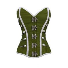 Green White Fancy Dress Corset Top