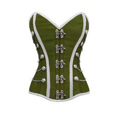 Green White Fancy Dress Corset Top
