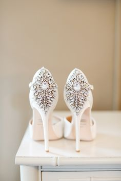 Glam jeweled bridal shoes: http://www.stylemepretty.com/collection/2595/
