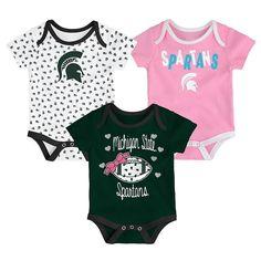 7e01c4ea1 Baby Michigan State Spartans Heart Fan 3-Pack Bodysuit Set