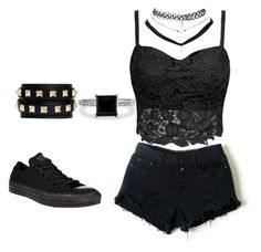 Modern Punk by punk-love on Polyvore featuring polyvore, fashion, style, Converse, Valentino, BERRICLE, Wet Seal and modern Bad Girl Outfits, Teenager Outfits, Short Outfits, Outfits For Teens, Cool Outfits, Summer Outfits, Summer Clothes, Valentino, Tv Show Outfits