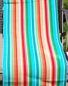 A colorful striped table runner