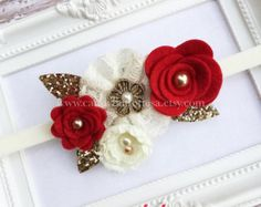 Ivory Gold Headband Gold Baby Headband Holiday by candybuttonusa