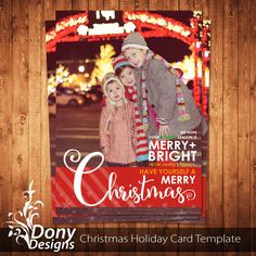 Christmas Card Template , Holiday Card Photocard Photoshop Template Instant Download BUY 1 GET 1 FREE : cardcode-210 by DonyDesigns on Etsy