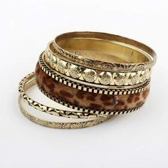 European and American fashion multilayer leopard bangle bracelet