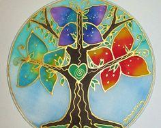 Mandala de árbol espiritual, espiritual de la mariposa de regalo, árbol de transformación, árbol de la vida, mandala arte, arte con mariposas, espiritual, metafísico