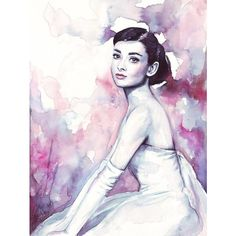 Olga Shvartsur Audrey Hepburn Pretty Watercolor (€16) ❤ liked on Polyvore featuring audrey hepburn
