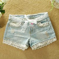 sincerely — Low waist lace jean shorts