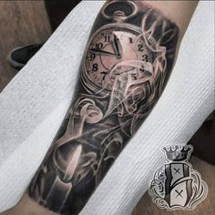 Watch and candle forearm tattoo - 100 Awesome Watch Tattoo Designs  <3 <3