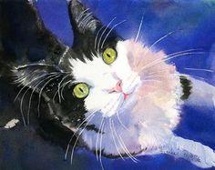 Tuxedo Cat Black White Art PRINT of my watercolor por rachelsstudio