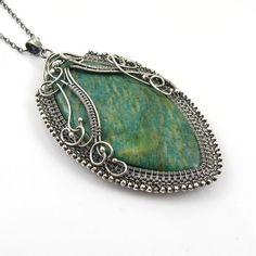 Statement amazonite necklace  wire wrap jewelry by MadeBySunflower, $250.00