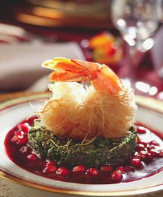 Shrimps with pomegranate sauce recipe from El Arte de Vivir , Pomegranate Sauce, Sauce Recipes, Camembert Cheese, Shrimp, Table Decorations, Food, Home Decor, Book, Dip Recipes