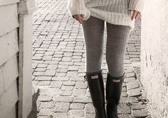 Cute tights with hunter boots.